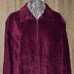 NEW Susan Graver 18/20 Wine Velvet Chenille Jacket
